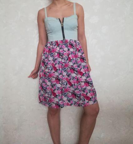Sukienka Kwiatuszki Dopasowana Góra Bloggerska Rozmiar S