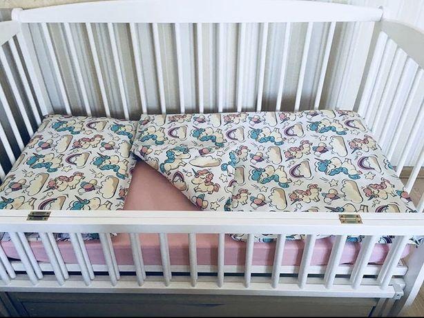 """Детское постельное белье """"Единорожки"""" на кроватку 120х60"""