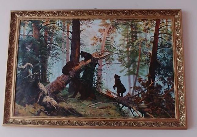 Obraz olejny wspolczesny 110 x 75 cm Szyszkin poranek w sosnowym lesie