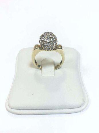 Złoty pierścionek złoto 585 r. 16 Nowy! Kula wysadzana cyrkoniami