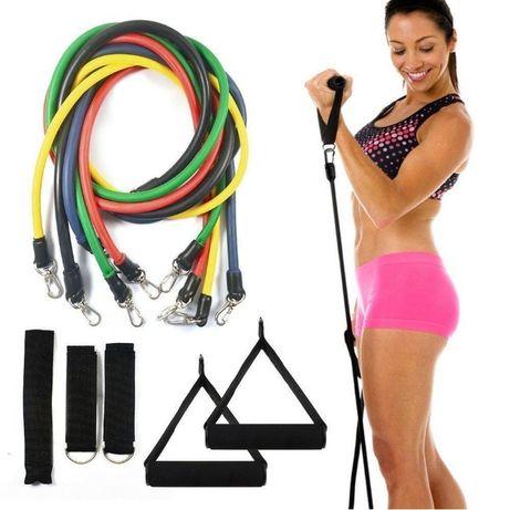 Эспандер (еспандер) трубчатый, набор для фитнеса 5 шт, фитнес резинки