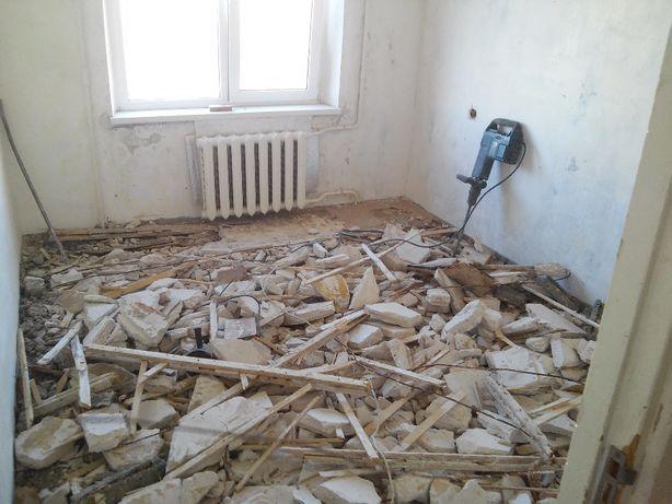 Демонтаж стен, пола, строений, другие демонтажные работы, вывоз мусора