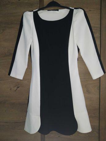 Sukienka biało czarna Zara bufki S