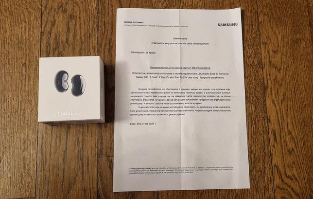 Słuchawki Samsung Buds Live, nowe, czarne, gwarancja 2lata