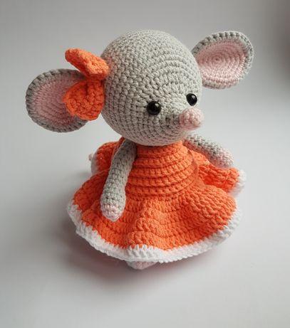 Новогодняя игрушка ручной работы вязаная мышка мышь крыса