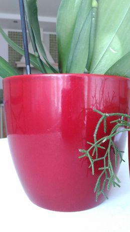 Czerwona doniczka/osłonka ceramiczna 18 cm
