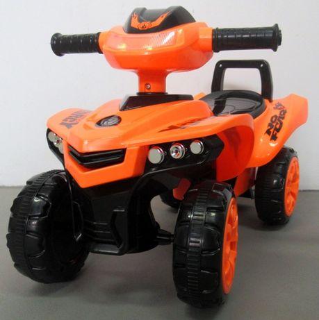 Jeździk Quad dla dzieci pomarańczowy, chodzik, muzyka, klakson