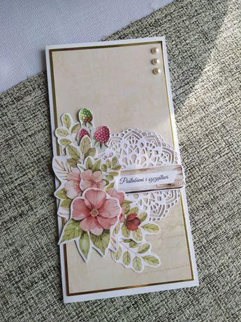 Ręcznie robione kartka ślubna, kartka z okazji ślubu
