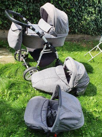 Wozek3w1gondola,spacerówka,fotelik do auta,dostawka dla starszego dzie