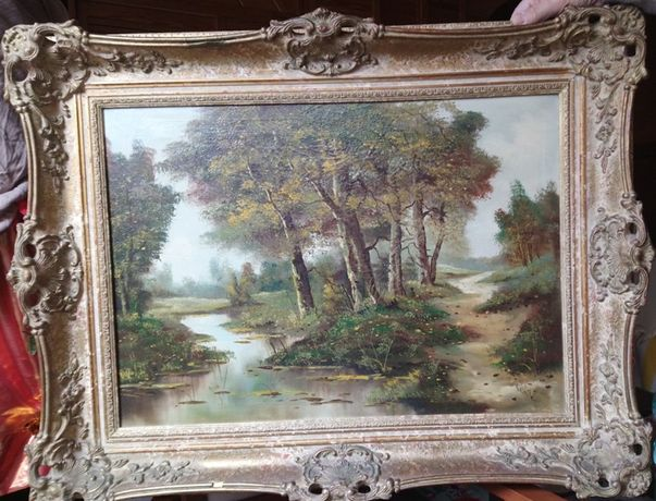 Stary obraz olejny – Mokradła.