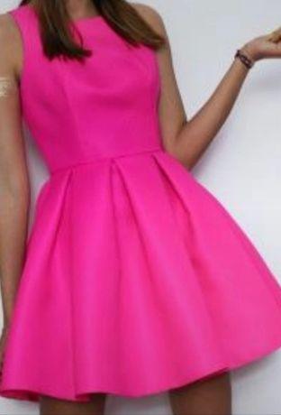Sukienka S róż neon wizytowa wyjściowa elegancka wesele komunia koktaj