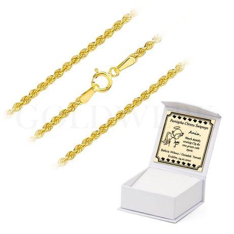 GRAWER Złoty 333 Gruby Łańcuch KORDA Łańcuszek KORDEL 45 cm na Komunię