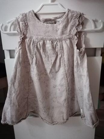 Letnia sukienka tunika Newbie kwiatki ptaszki koronka 68 cm 3-6
