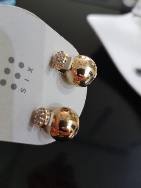 Kolczyki kolor złoty dwie pary nowe nienoszone