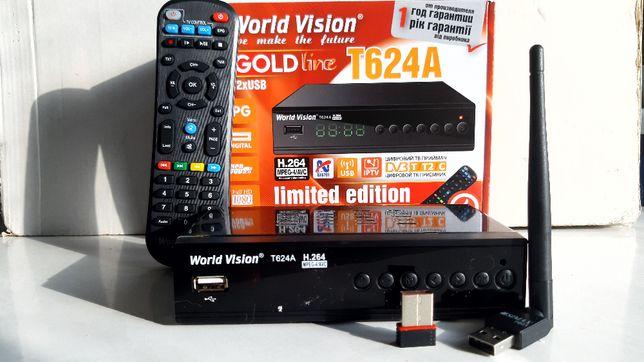 Эфирный Т2 тюнер WorldVision T624 А + Интернет+Megogo+AC3+WiFi адаптер