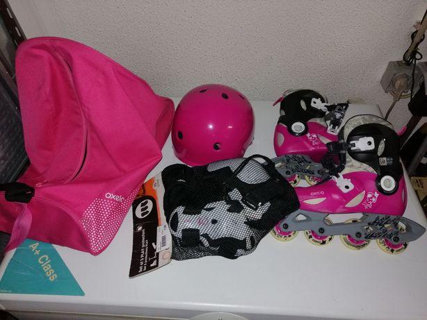 Patins criança 32-34 com capacete, proteções e Saco transporte