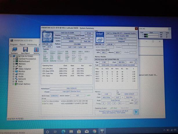 Laptop DELL Latitude E6430 i5 SSD 240 plus 500GB HDD 4Gb DDR 3