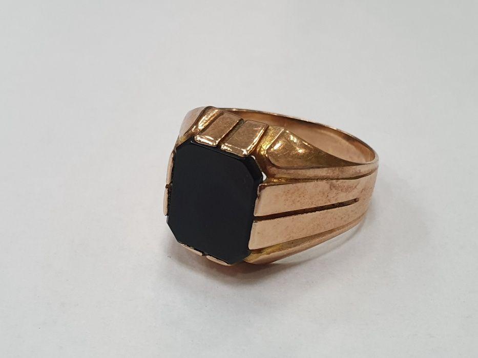 Warmet! Piękny złoty sygnet męski/ 585/ Onyks/ 8.34 gram/ R22/ sklep Gdynia - image 1