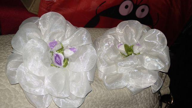 школьные белые банты розы 2шт по 12 см цветы заколки резинки