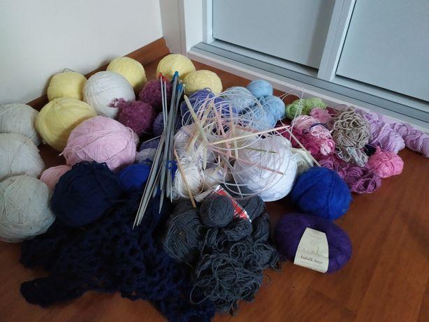 Włóczka druty robótki ręczne na drutach