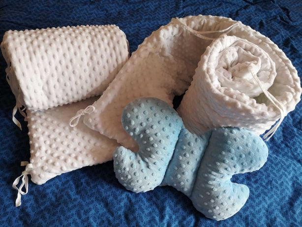 Ochraniacz na łóżeczko minky 360cm (2x180cm) miękki gruby poduszka