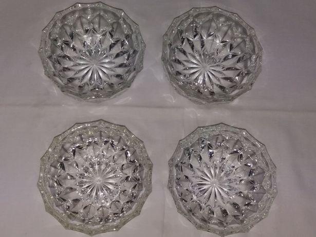 Conjunto 4 taças de sobremesa vidro trabalhado com relevo a estrear