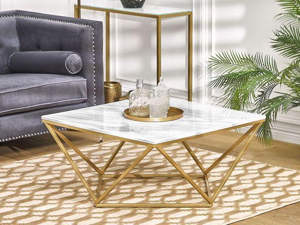 Mesa de centro com efeito de mármore branco e pés dourados MALIBU - Beliani