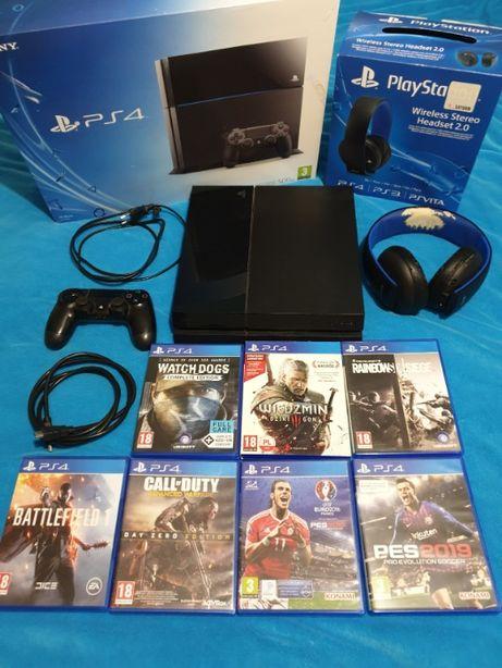 Playstation 4 zestaw 7 gier i słuchawki