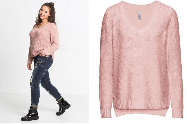 BPC modny różowy sweter z dzianiny 40/42 XL