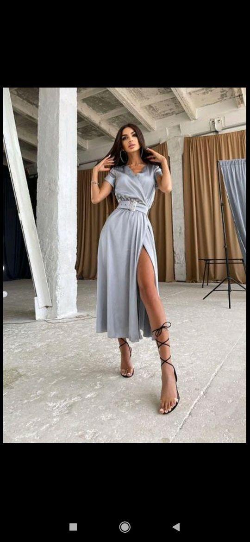 Сукня сіра атласна  нарядна сукня  плаття сіре