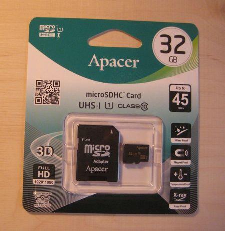 Карта памяти Apacer 32 GB microSDHC Class 10 UHS-I + SD adapter