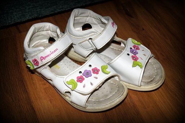 Sandały rozmiar 26 American Club Sandałki dziewczęce skórzane
