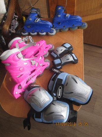 3.роликовые коньки розовые с новым полным захистом суставов
