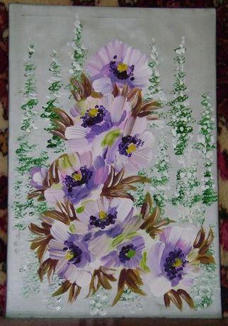 Картина на шелке (цветы, пять шт)