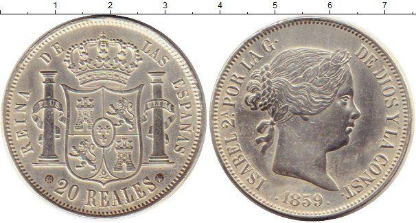 Монета Испания 20 реалов 1859 Серебро
