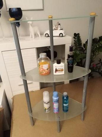 Nowoczesny regał stojak łazienkowy szklany półka uniwersalny