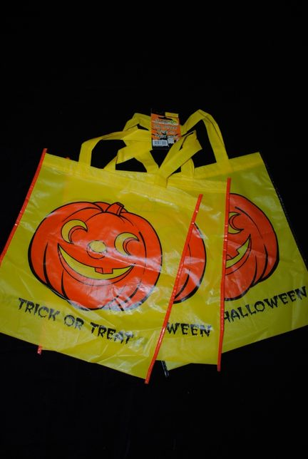 Сумка комплект 3шт для подарков пакет на Хэллоуин якая желтая тыква