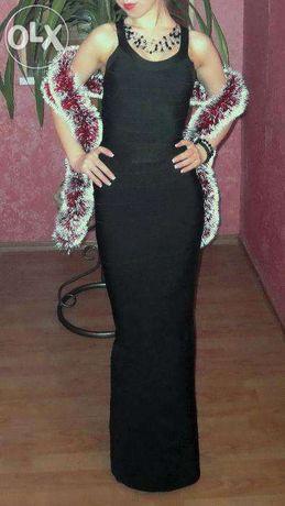 Черное бандажное платье в пол
