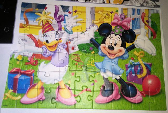 Puzzle Mickey Mouse & Daisy stan: jak nowe, 3 rozne obrazki 10 PLN