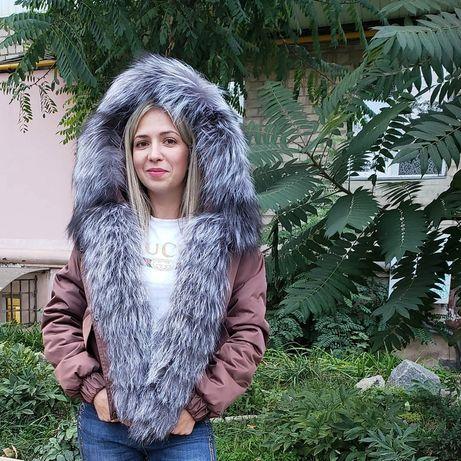 Хит сезона Бомбер курточка парка с мехом , курточка с мехом чернобурка
