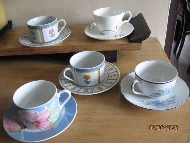 porcelana, filiżanka + talerzyk, różne zestawy