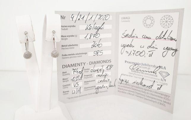 Złote kolczyki DIAMENTY 0,22ct 585 1,89g.