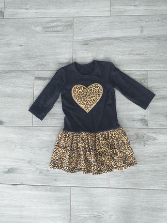 Sukienka czarna panterka roz 116
