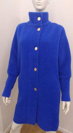 ELEGANCKI szafirowy płaszcz alpaka