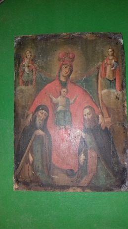 Икона Б.М. Свенская или Печерская с предстоящим Антонием