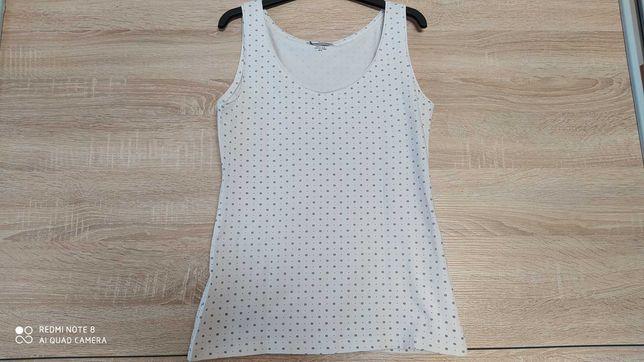 Biała bluzka damska na ramiączkach z nadrukiem