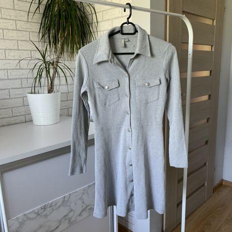 Sukienka szara prazkowana z guzikami zara XS S M 34 36 38 hm biała