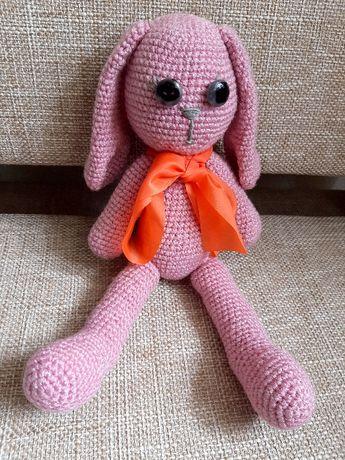 М'яка іграшка - Рожевий зайчик, плетений гачком. Ручна робота.