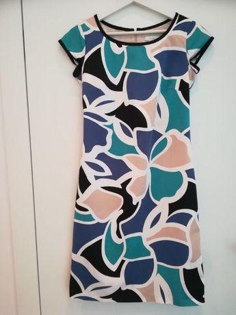letnia sukienka Taranko przed kolano midi XS/S niebieska kwiaty, flora