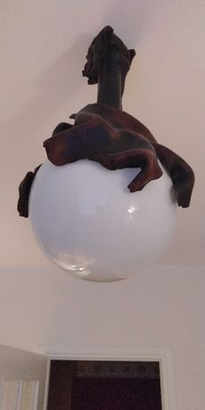 Lampa sufitowa, żyrandol, skóra naturalna
